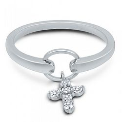 Dangle Cross Sterling Silver and Cubic Zirconia Ring