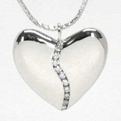10 Diamond Small Harmony Heart Pendant in 18k White Gold