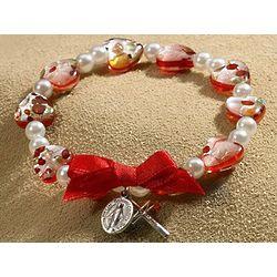 Red Murano-Style Heart Rosary Bracelet