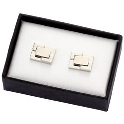Two Tone Silver Metal Cufflinks with Stepped Border