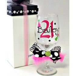 Personalized 21st Birthday Wine Glass
