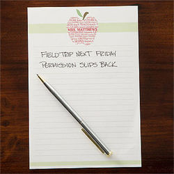 Personalized Apple Scroll Teacher's Note Pad