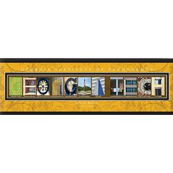 Georgia Tech University 12x36 Personalized Letter Canvas