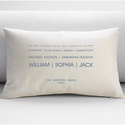 Personalized Linear Family Tree Pillow Cover