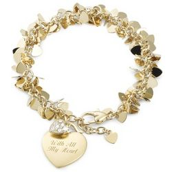 Flutter Heart Bracelet with Heart Charm