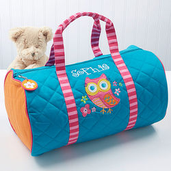 Lovable Owl Embroidered Duffel Bag