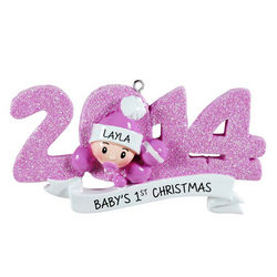 2014 Baby Girl's Pink Glitter First Christmas Ornament