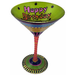 Happy 21st Birthday Hand Painted Reverz-Art Martini Glass