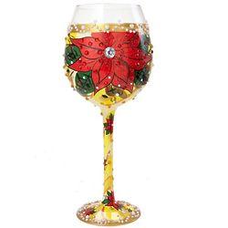 Poinsettia Super Bling Wine Glass
