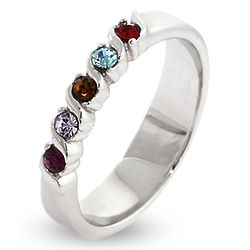 5-Stone Swarovski Crystal Birthstone Sterling Silver Ring