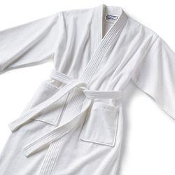 Monogrammed Kimono Style Velour Bathrobe in White