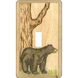Bear Wood Burned Switchplate