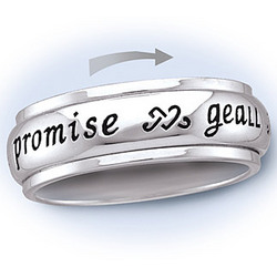 Sterling Silver Spinner 'Promise' Ring