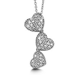 Triple Hearts Sterling Silver and Cubic Zirconia Necklace