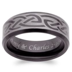 Men's Engraved Blackened Tungsten Celtic Band
