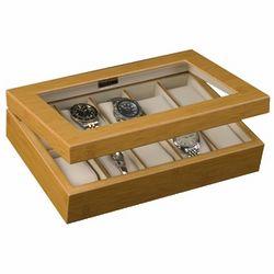 Logan Glass Top Bamboo Watch Box