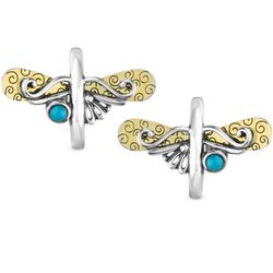 Sterling Dragonfly Hoop Earrings