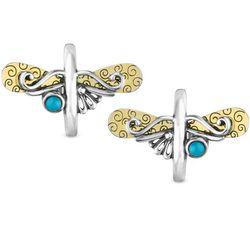 Sterling Dragonfly Hoop Earrings