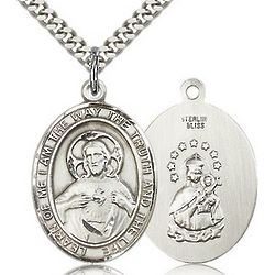 Sterling Silver Scapular Pendant with Chain