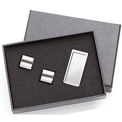 Personalized Silver Cufflinks a Chrome Plated Money Clip Gift Set