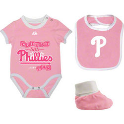 Baby's Pink Philadelphia Phillies Bodysuit, Bib, and Booties
