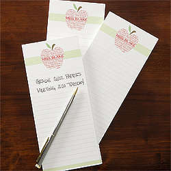 Personalized Apple Scroll Teacher's Note Pad Set
