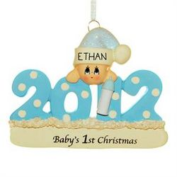 2012 Personalized Baby Boy with Bottle Christmas Ornament