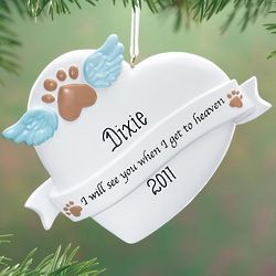 Personalized Paw Print Memorial Ornament