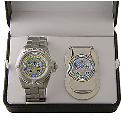 Personalized Military Watch and Money Clip