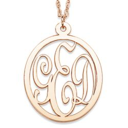 Gold Over Sterling 3 Initial Oval Monogram Necklace
