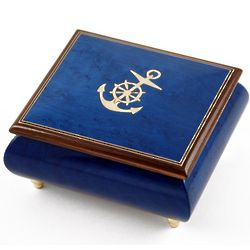 Anchor Inlay Nautical Musical Jewelry Box