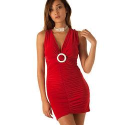 Slinky Ruched V Neck Racer-Back Date Dress
