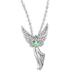 Blessings For My Granddaughter Birthstone Angel Pendant