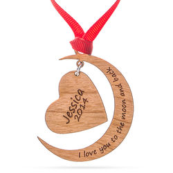 I Love You To The Moon and Back Personalized Wood Ornament