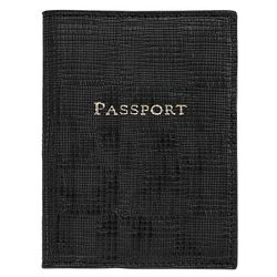 Personalized Passport Holder in Black Embossed Plaid Leather