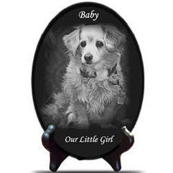 Engraved Pet Photo on Marble Oval