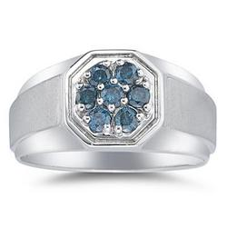 Men's Blue Diamond Cluster Ring in White Gold