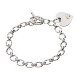 Silver and Gold Heart Disc Charm Bracelet