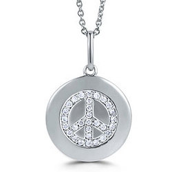 Sterling Silver and Cubic Zirconia Peace Medallion Necklace
