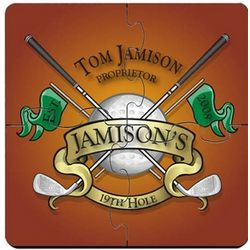 Personalized Coaster Puzzle Set with Golf Image