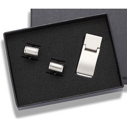 Personalized Convex Cufflinks and Money Clip Gift Set