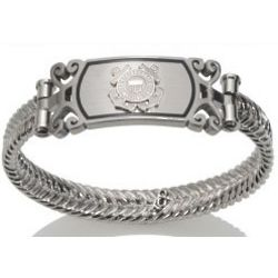 Women's Silver and Stainless Steel US Coast Guard Bracelet