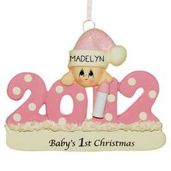 2012 Personalized Baby Girl with Bottle Christmas Ornament
