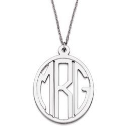 Sterling Silver Petite Tailored Oval Monogram Necklace