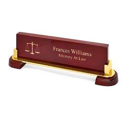 Legal Desktop Walnut Name Bar