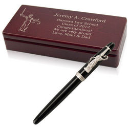 Lady of Justice Personalized Pen with Wooden Box