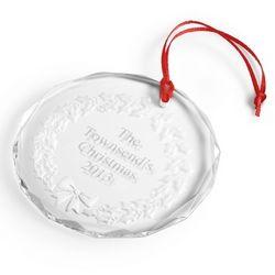 Crystal Holly Wreath Christmas Ornament