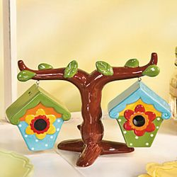 Birdhouses on a Tree Salt & Pepper Shakers