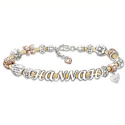 Cable Bracelet with Granddaughter's Name In Letter Beads