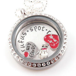 Cat Lover Themed Floating Glass Locket Personalized Necklace